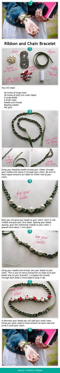 Ribbon and Chain Bracelet via pindemy.com