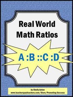Ratios Worksheets Real World Math Activities