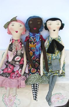 Camille: Handmade Rag Doll - Eco Friendly Soft Cloth Doll - 22 Inches Tall - Organic Muslin, Recycled & Vintage Textiles - Pink and Brown. $120.00, via Etsy.
