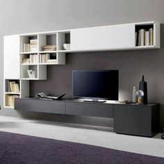 Living room tv wall unit design living room wall unit for wall cabinet char Wall Mount Tv Shelf, Wall Mounted Tv Unit, Wall Mount Tv Stand, Wall Mounted Shelves, Wall Tv, Shelf Wall, Tv Wall Units, Hanging Shelves, Wall Unit Designs