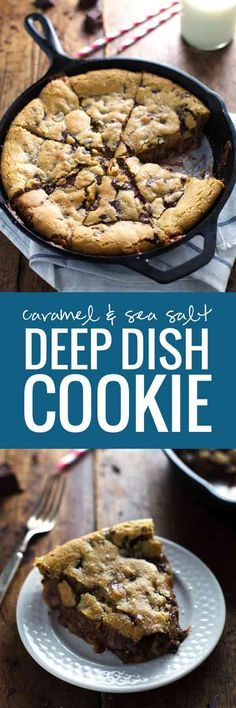 This has got to be the ultimate gooey, chocolatey dessert recipe! Deep Dish Chocolate Chip Cookies with Caramel and Sea Salt - my favorite cookie dough baked in a skillet with a layer of soft caramel. Just Desserts, Delicious Desserts, Yummy Food, Yummy Treats, Sweet Treats, Deep Dish Cookie, Cookie Recipes, Dessert Recipes, Dessert Food