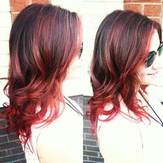 Dark Brown hair with cherry red highlights and ends -- By Taylor Nick, William Edge Salon, Nashville, TN