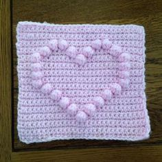 Knitting Patterns Blanket How to crochet a square with heart bobble chart Filet Crochet, Puff Stitch Crochet, Bobble Crochet, Crochet Motifs, Afghan Crochet Patterns, Crochet Squares, Crochet Stitches, Crochet Baby, Granny Squares