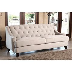 ABBYSON LIVING Claridge Beige Velvet Fabric Tufted Sofa