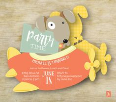 Custom Kid's Birthday Invitation  | Puppy Pilot Personalized Die Cut Party Invitation | Custom Children's Invite | Party Invite for Kids