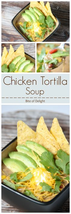 Best Chicken Tortilla Soup!  After ordering some disappointing soup in restaurants, this was the answer for a great chicken tortilla soup!  Bite of Delight