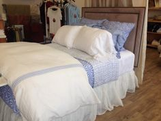 Pine Cone Hill's new Varkala Coverlet and Shams in French Blue with Varana Linen Duvet