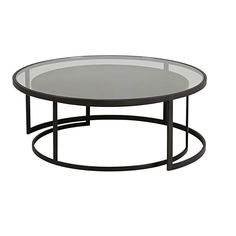 Set of 2 Tempered Glass and Black Metal Nest of Tables Eclipse Oval Table, Large Table, Small Tables, Living Room Modern, Home Living Room, Black Coffee Tables, Elegant Table, Living Room Pictures, Coffee Table Design