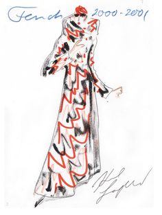 Karl Lagerfeld2 Fendi 2000/2001 Fashion Illustration sketch Haute Couture // Modemethode Kunsthalle Bonn