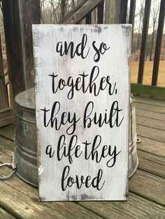 farmhouse decor fireplace Home Decor signs And so together they built a life they loved FARMHOUSE RUSTIC COUNTRY wooden sign homr decor Diy Home Decor Rustic, Country Farmhouse Decor, Primitive Country, Rustic Living Room Decor, Farmhouse Ideas, Rustic Home Decorating, Country Homes, Decor Room, Primitive Decor