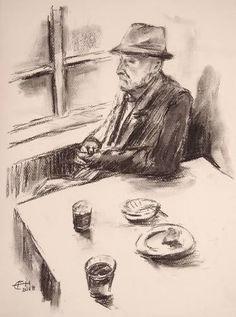 Original People Drawing by Ellen Fasthuber-huemer Charcoal Drawing, Drawing People, Figurative Art, Buy Art, Paper Art, Saatchi Art, Original Art, Man Portrait, Modern Impressionism