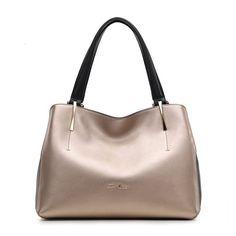 Gold Tone Leather Handbag