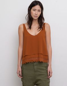 Pull&Bear - woman - blouses and shirts - blusa top crochet - toffee - 05472316-V2015