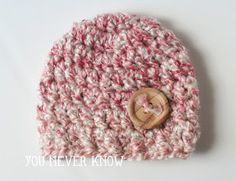 You Never Know by Andrea VanHooser Womack: Chunky Button Newborn Hat