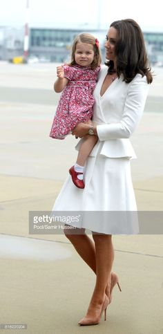 Catherine, Duchess of Cambridge, Princess Charlotte of Cambridge arrive at Warsaw airport during an official visit to Poland and Germany on July 17, 2017 in Warsaw, Poland.