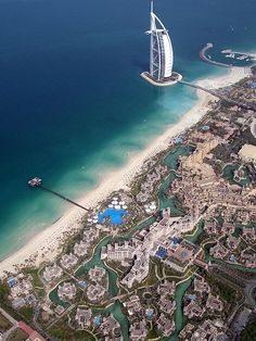 Aerial view of the Burj Al Arab and Madinat Jumeirah - Dubai, UAE #dubai #uae