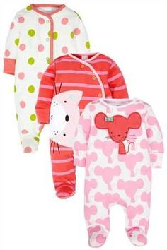 Buy Cat And Mouse Sleepsuits Three Pack (0mth-2yrs) from the Next UK online shop