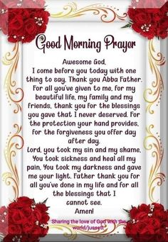 Discover recipes, home ideas, style inspiration and other ideas to try. Powerful Morning Prayer, Good Morning God Quotes, Morning Prayer Quotes, Good Morning Prayer, Good Morning Inspirational Quotes, Morning Greetings Quotes, Inspirational Prayers, Morning Blessings, Morning Prayers