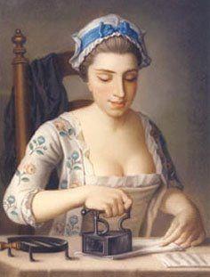 1750s Henry Robert Morland (British artist, 1716-1797) A Girl Ironing Shirt Sleeves