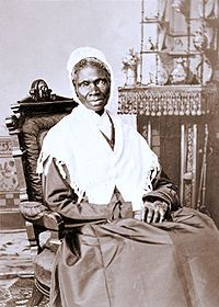 "Sojourner Truth bought and sold four times…ran away in 1827..successfully sued for the return of her five-year-old son …with the help of a friend she published her life and beliefs in 1850 in the Narrative of Sojourner Truth, which brought national recognition…gave her most famous speech, ""Ain't I a Woman?"" at woman's rights conference in Akron, Ohio,1851, where all other speakers were men."