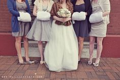 Love the bridesmaids' muffs for a winter wedding! Use in place of flowers, or have both!