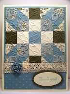 Stampin' Up! ... handmade quilt card by Bonnie Emmons ... little squares in vanila, chocolate and blues form a pretty patch ... like the crochet ribbon and shaped rose embellishments ...
