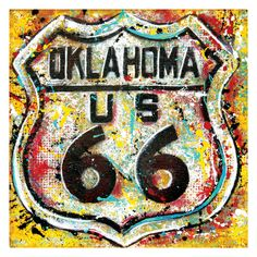 Get Your Kicks on Route 66 - 12 x 12 High Quality Pop Art Print. $20.00 | ** CLICK IMAGE FOR HIGH RES ** | #share