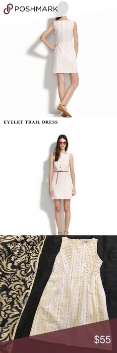 "Madewell eyelet trail dress Love this but at 5'9"" it's just too short on me. Madewell website lists 34"" but the one I have is 32.5"" long. No stains, snags, or other flaws to note. Bust measures 17"" flat, waist 14.5"" *this item is cross listed* Madewell Dresses Mini"