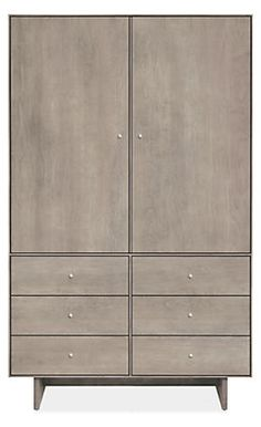 Hudson Armoires with Wood Base - Armoires - Bedroom - Room & Board 71 x 44 x 20 stocked in grey