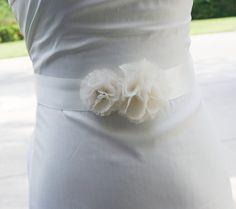 ivory double flowers bridal sash wedding flower by BridesBoutik, $38.00