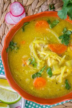 This Mulligatawny Soup is simple to throw together, and a hearty, healthy, and dairy-free. It's a curry flavored soup with chicken, carrots, and apples.