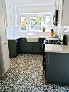 Vivacious Luxurious House Interior with Neutral Colors: Beautiful Modern Kitchen Design Mosaic Tile Floor Griffith Hacienda