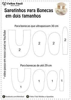 Feltro Fácil Moldes e Apostilas: Molde de Sapatinhos para Bonecas em Feltro!
