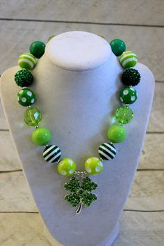 Flower Green Chunky Bubblegum Necklace costume birthday outfit accessory Photo Prop Bead
