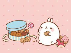 Molang and cookies Kawaii Bunny, Kawaii Chibi, Kawaii Art, Kawaii Drawings, Cute Drawings, Cutest Bunny Ever, Kawaii Illustration, Molang, Cute Doodles