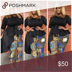 "Venus Top-Black Featuring 3/4 sleeves, a round neck and a seamed bodice for a flattering fit. This top has a peplum and a flowing cascade detail on the side. Rock this peplum top with solid or printed pencil skirt, leggings or jeans. Model is 5'9"" and pictured in a 2X.   •95% Polyester  •5% Spandex • Hand Wash Cold But Dry Cleaning Strongly     Recommend Tops Tunics"