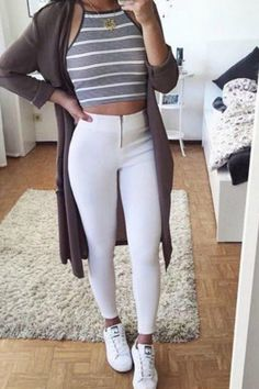teen-fall-winter-fashion-outfit-ideas-for-school-jeans-yeezy-sneakers-striped-crop-top-cardigan #fashion