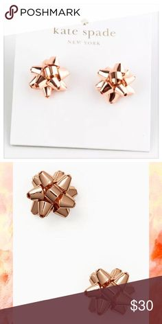"♠ NWT Kate Spade Rose Gold ""Bourgeois"" Bow Studs ♠ ♠ Authentic NWT Kate Spade Rose Gold Bourgeois Bow Stud Earrings ♠ Brand new with tags and dust pouch -- perfect condition! ♠ Kate Spade Style #o0ru1676 ♠ ~.5""x.5"" -- 14k gold fill posts -- rose gold plated metal exterior ♠ Super fun, festive earrings that are perfect for celebrating! ♠ Please ask any questions prior to purchase  ♠  No Trades!  kate spade Jewelry Earrings"