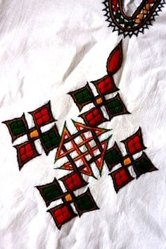 Ethiopian blouse with traditional style embroidered cross