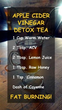 APPLE CIDER VINEGAR DETOX TEA 1 cup warm water 2 tbsp ACV 2 tbsp lemon juice 1 tsp cinnamon dash of cayenne Amplify the effects and improve your health by using alkaline. Sugar Detox Cleanse, Detox Cleanse For Weight Loss, Detox Tea Diet, Dietas Detox, Detox Diet Drinks, Juice Cleanse, Detox Juices, Stomach Cleanse, Detox Foods