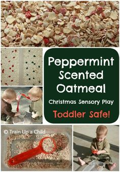Train Up a Child: Peppermint Oatmeal {Christmas Sensory Play for Toddler). We did something similar with a breakfast cereal called ready brek.