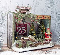 Santa's Winter Wonderland created for the Tim Holtz Holiday Inspiration Series 2017 by Emma Williams Retro Christmas, Rustic Christmas, All Things Christmas, Christmas Time, Christmas Door Wreaths, Christmas Balls, Christmas Decorations, Christmas Ornaments, Christmas Projects