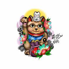 Japanese Tattoo Designs, Japanese Sleeve Tattoos, Frog Tattoos, Mini Tattoos, Tattoo Design Drawings, Maneki Neko, Minimal Tattoo, Symbolic Tattoos, Cat Tattoo