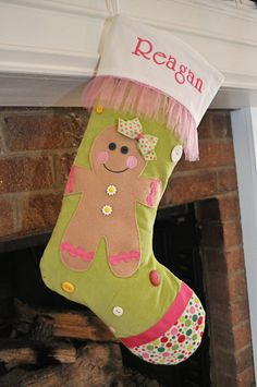 Girl Gingerbread Christmas Stocking with FREE by sewingbeeshop