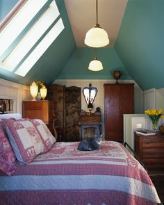Colorful attic guest room getaway