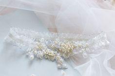 Bridal garter, lace garter, flower garter, wedding garter, Pearl Garter, Vintage Garter, Wedding Garter Belt, Lace & Pearls wedding garter by Leteria on Etsy