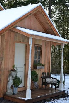 Add a covered porch to the shed. Inspiration via Faded Charm: ~Christmas on the Porch~