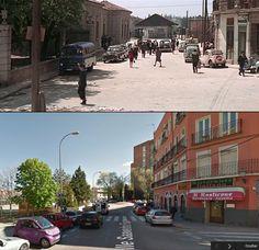 A la izquierda el edificio de la estación de Goya. Al fondo las instalaciones y en el horizonte los cipreses del cementerio de San Isidro, via Carpetana. La calle es Saavedra Fajardo. A unos 300 metros del puente de Segovia.