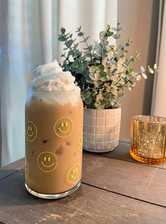 Iced Coffee Glass / Glass Coffee Cup / Beer Can Glass / Smiley Face Personalized Starbucks Cup, Custom Starbucks Cup, Starbucks Tumbler, Yellow Smiley Face, Glass Coffee Cups, Shot Glass Set, Reusable Cup, Cute Cups, Rainbow Swirl