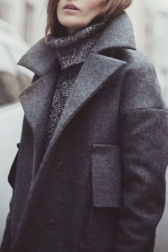 Knitwear and coats are the perfect way to mix textures in #greyongrey #style #fashion